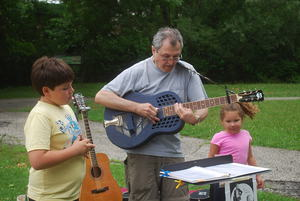 Phil Dollard plays the New Rochelle Farmers' Market