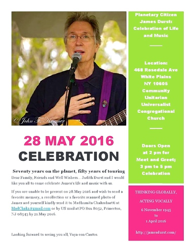 Planetary Citizen James Durst Celebration of Life and Music
