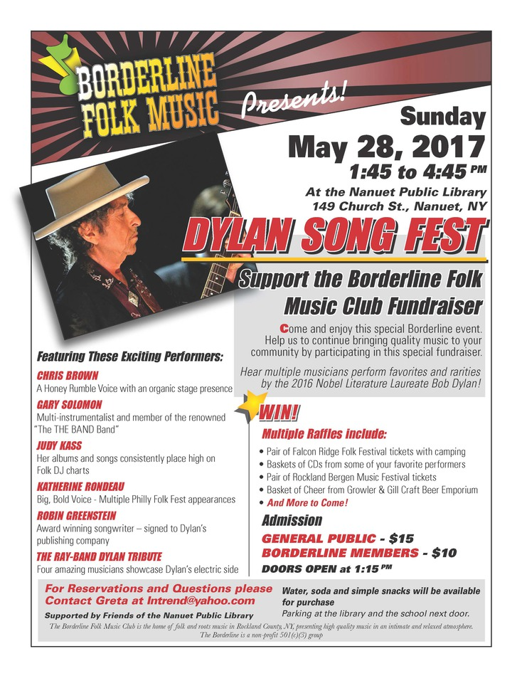 Borderline Folk Music Presents Dylan Song Fest - Sunday May 28