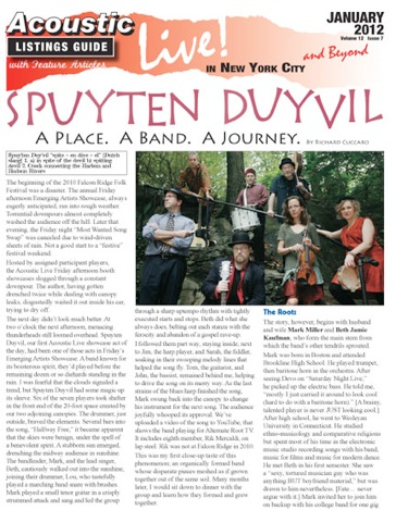 Spuyten Duyvil  A Place A Band A Journey by Richard Cuccaro Acoustic Live January 2012