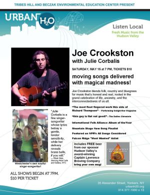 Tribes Hill brings Joe Crookston and Julie Corbalis to Urban H2O on May 15th at the Beczak in Yonkers
